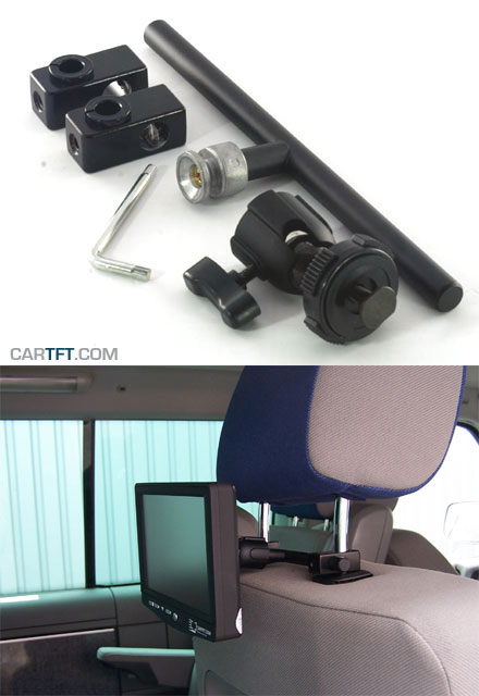 Headrest mounting unit f. CarTFT displays